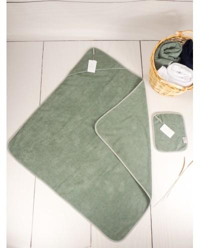 Ręcznik niemowlęcy z kapturem 0-2 lata szary + gratis ręcznik do twarzy